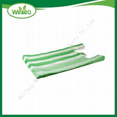 Striped Plastic T-shirt Bags on Roll for supermarket
