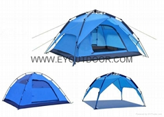 Automatic family camping tent for double layer 3-4 man portable