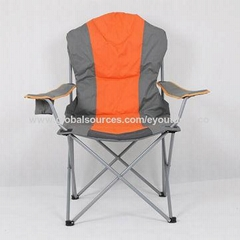 Portable camping quad chair with 4-can cooler and mesh cup holder padded comfort