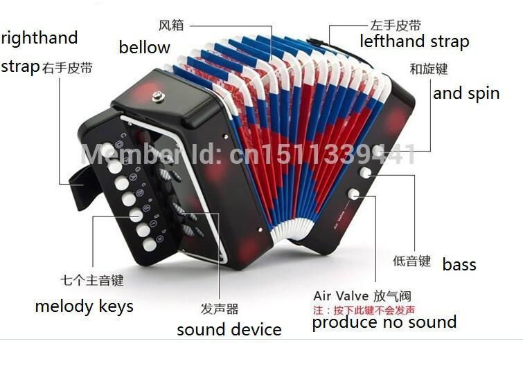 children 7 key 2 bass toy musical button accordion for sale 5