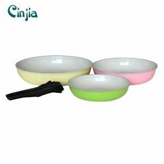 High Quality Detachable Handle Aluminium Ceramic Frypan Set