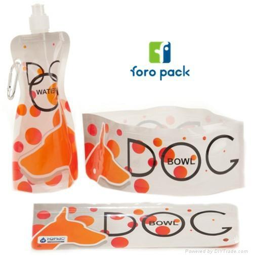 Folding pet bowl plastic pet drinking zipper bag for sale 1