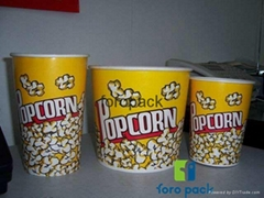 Custom printed disposable Popcorn paper buckets. popcorn buckets