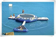 Durable Inflatable Water Trampoline Combination Of Blob And Tubes