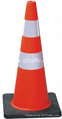 Fluoresent orange PVC road traffic cones with reflective collars