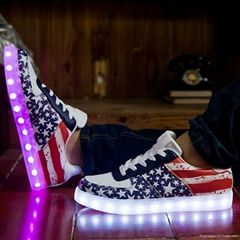 2016 Fashion PU leather USB LED light luminous shoes