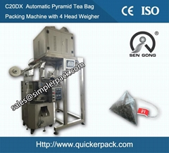 Pyramid PLA Bag Jasmine Tea Packaging Machine with Thread and Tag