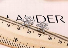 Snowflake earrings S925 silver plated with 18 k gold