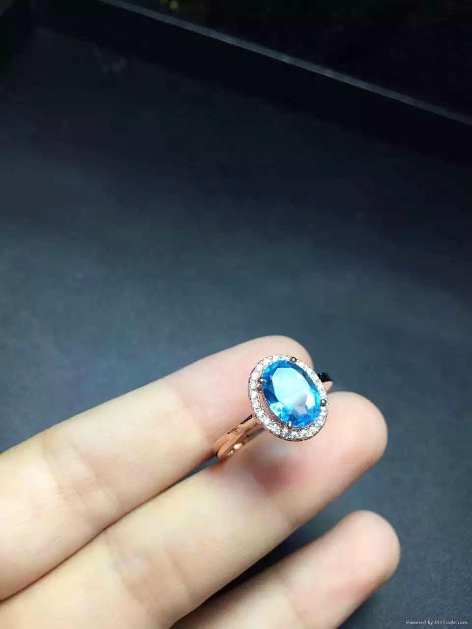 925纯银镶嵌天然托帕石微镶款戒指  1