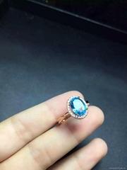 925纯银镶嵌天然托帕石微镶款戒指