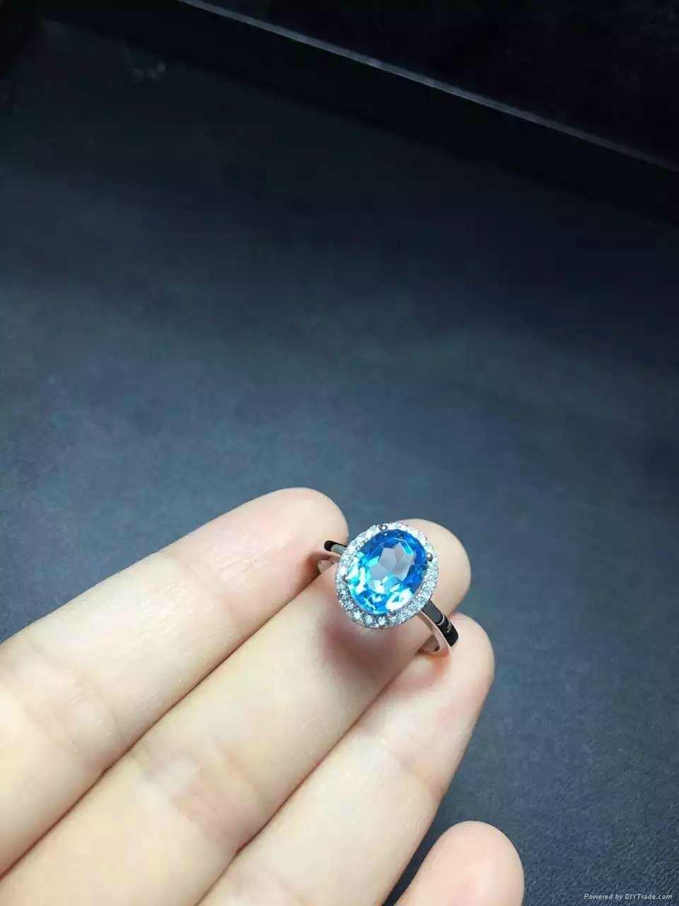 925纯银镶嵌天然托帕石微镶款戒指  2