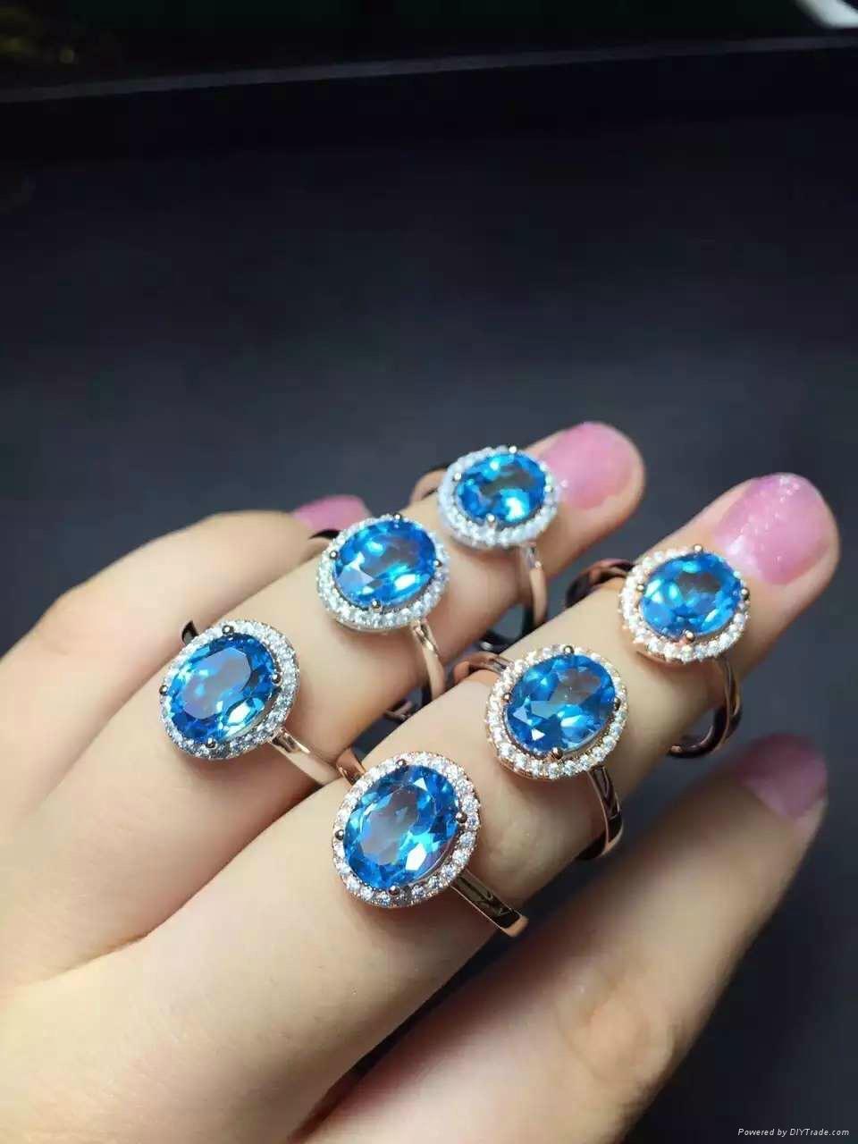 925纯银镶嵌天然托帕石微镶款戒指  3
