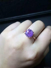天然紫晶 女戒指 日韓