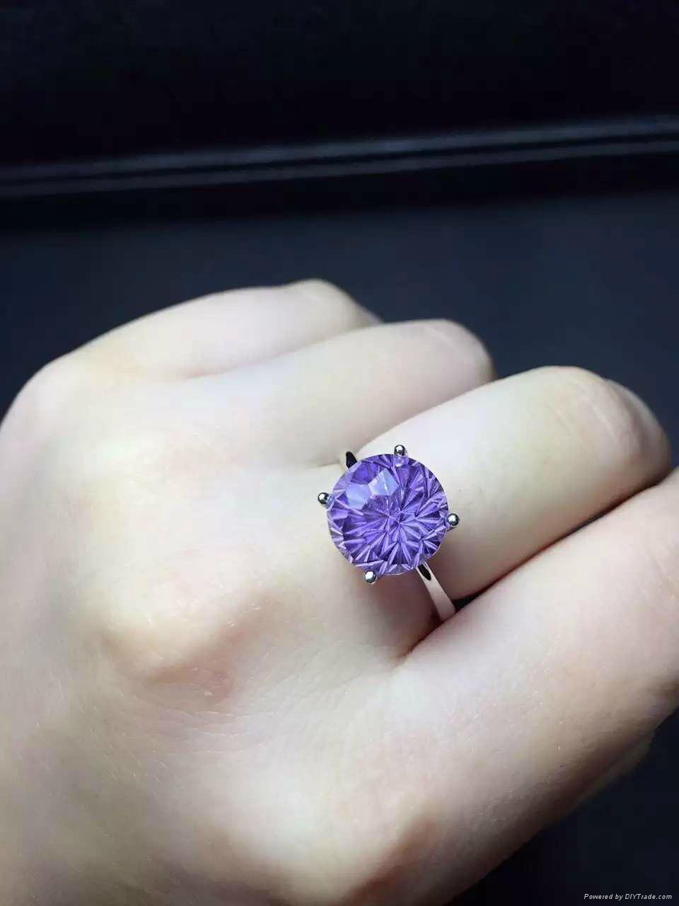 天然紫晶 女戒指 日韩 3