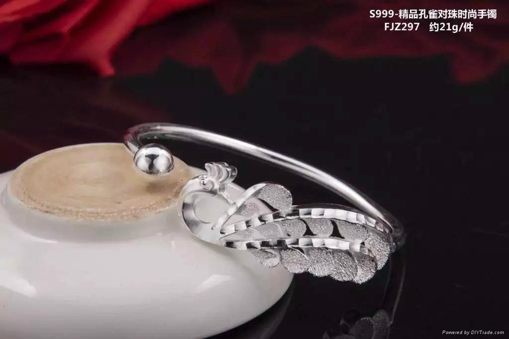 S999足银纯银手镯开口蝴蝶 1