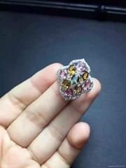 925纯银镶嵌款碧玺戒指