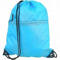Polyester drawstring bag with zipper pocket