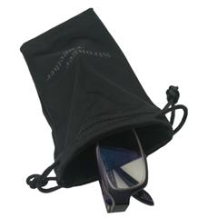black microfiber drawstring eyeglasses pouch