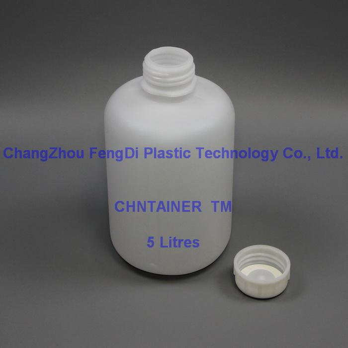 Round HDPE bottle 5L with DIN65mm caps