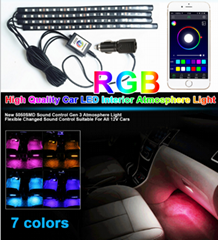 4PCS White Car Interior Charge Foot Floor 18LED Decorative Atmosphere Lamp