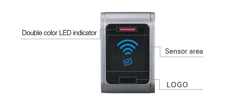IP68 Waterproof Metal Contactless Wall Mount Wiegand RFID reader For Door Access 3