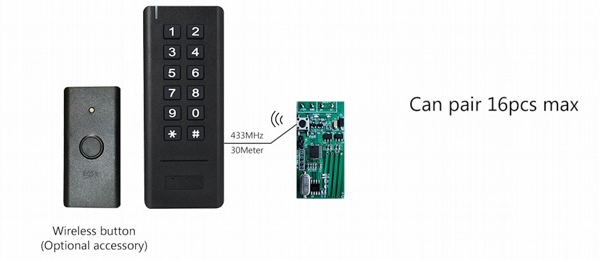 Wiegand 26-34 Bits 433MHz Wireless Keypad Reader With Receiver  3