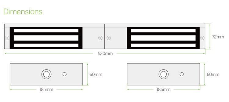 12V/24V 1200LBS Double Door Electric Magnetic Lock For Door Access Control  3
