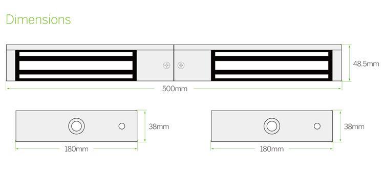 Double Door EM Lock 1200LBS With LED, Lock Sensor and Buzzer 5