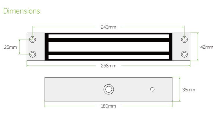600lbs/280kg Embedded Electromagnetic  Lock For Single Door  5
