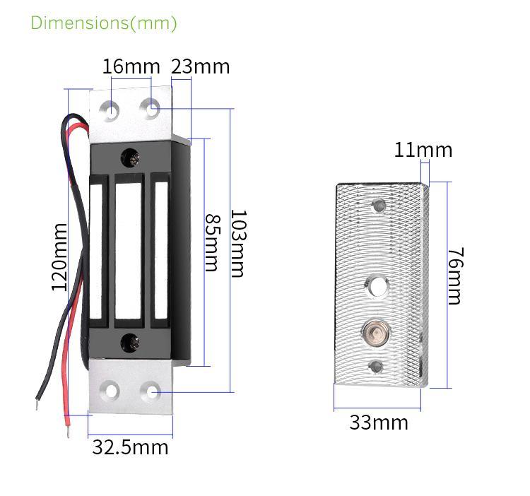 100LBS/60KG Embedded Mini Electromagnetic Door Lock 2