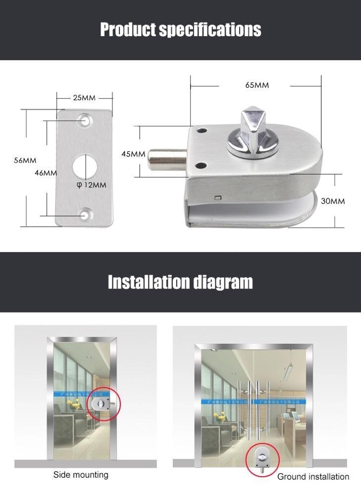 Floor Latch Manual Lock For Glass Gate Door  7
