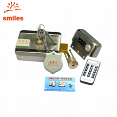 Electric Rim Lock with Double Cylinders With Remote Controller,  RFID Card Read
