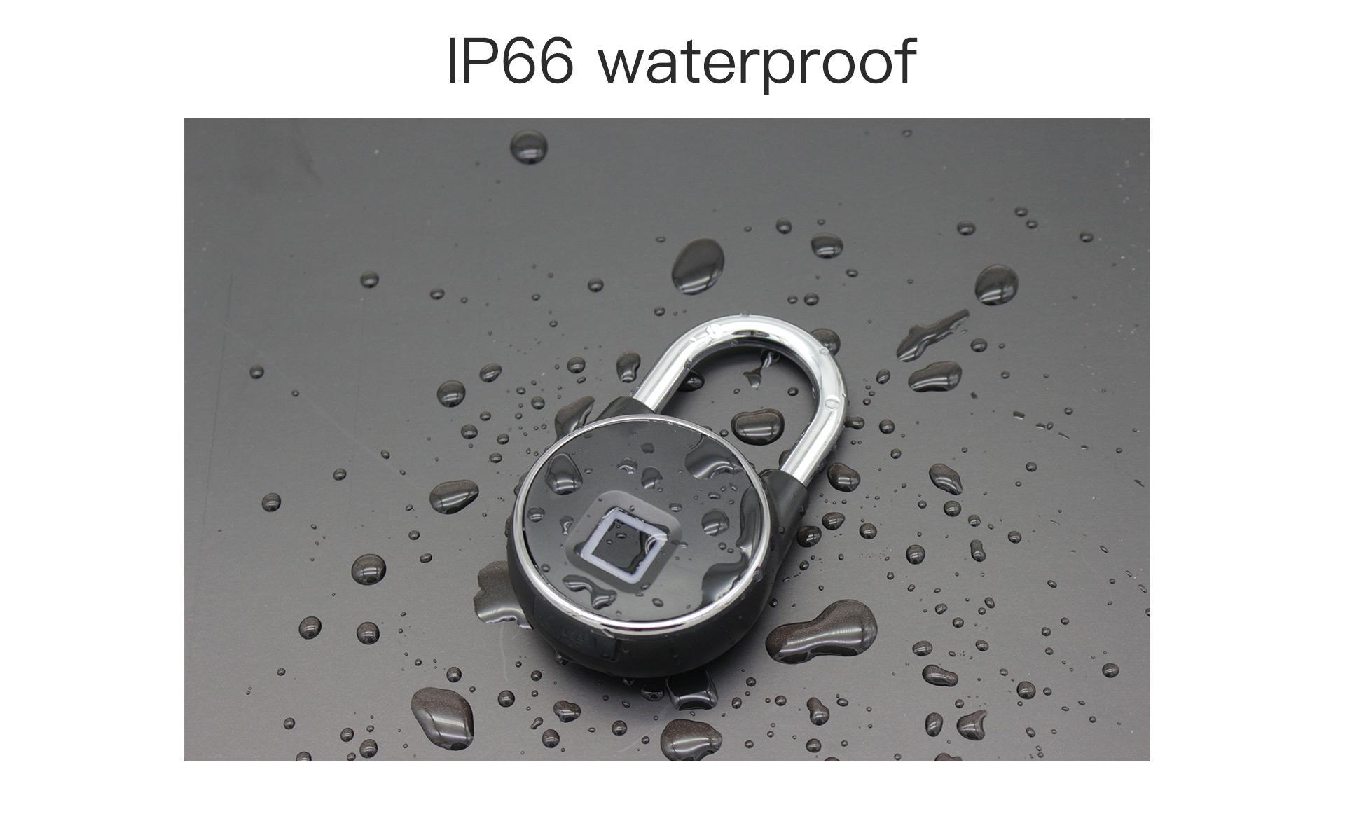 Intelligent IP66 Waterproof Keyless Bluetooth Fingerprint Padlock  7