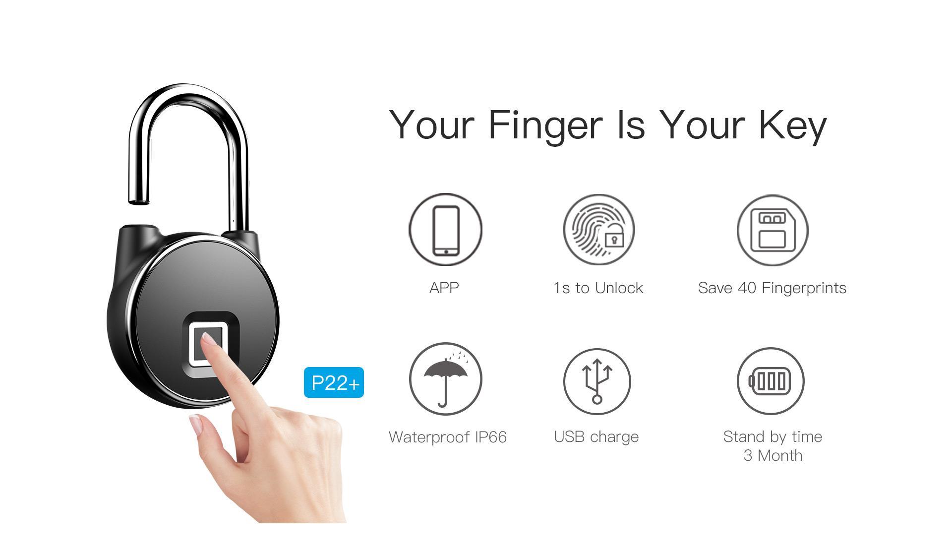 Intelligent IP66 Waterproof Keyless Bluetooth Fingerprint Padlock  9