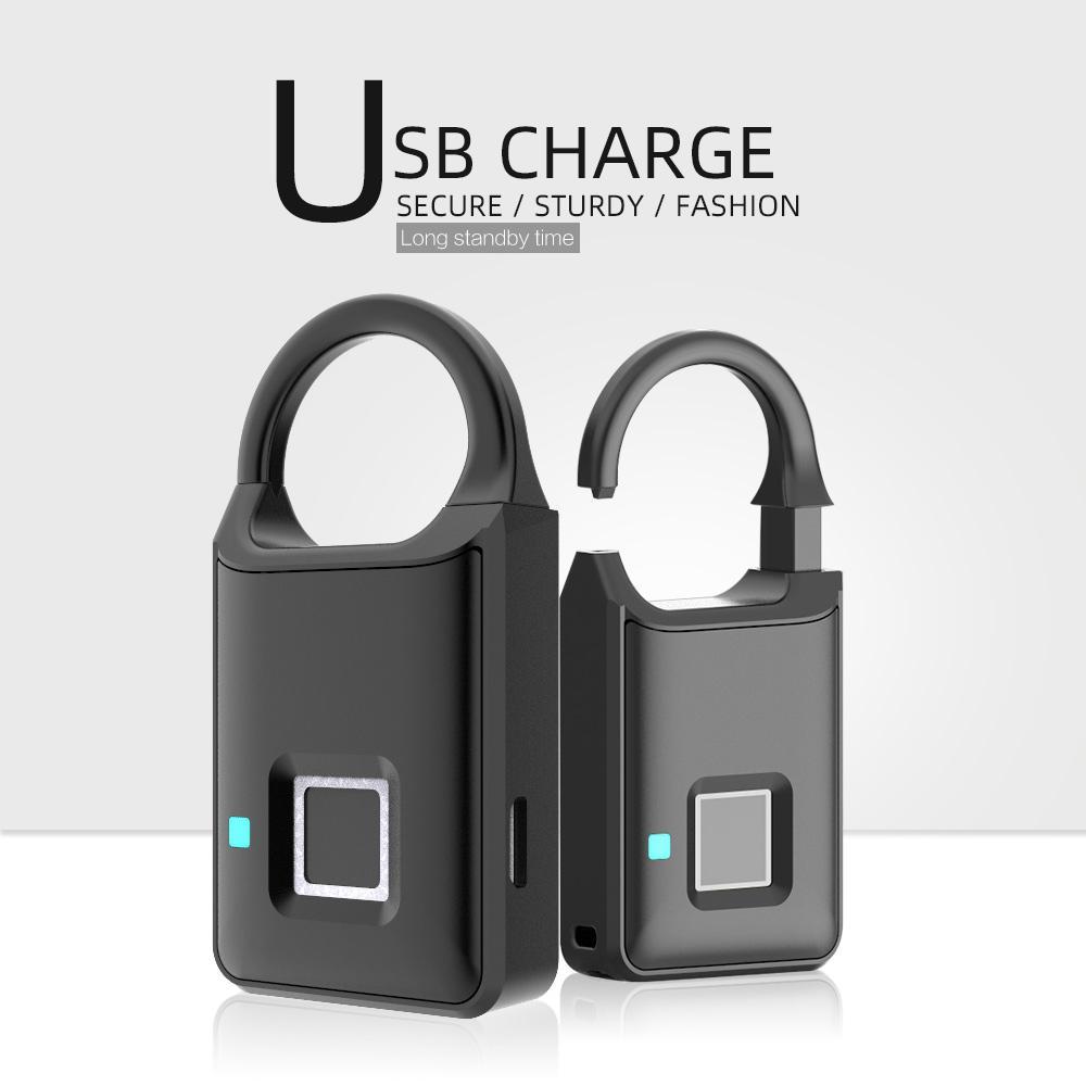 Semiconductor Sensor Small Fingerprint Padlock With USB Charger  8