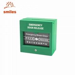Glass Press Break Green Exit Emergency Door Release Switch For Fire Alarm