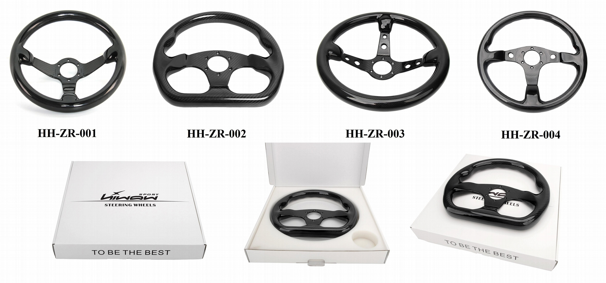 Universal Parts Flat Type Carbon Fiber Steering Wheel For Cars 3