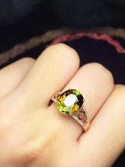 儷妃珠寶天然碧璽戒指18k金鑲嵌配鑽石