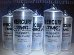 Silver & Red Liquid Mercury with 99.9999 Purity
