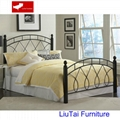 Queen size metal bed with wood post