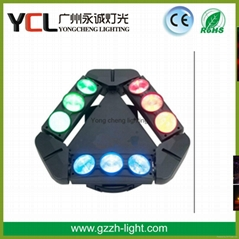 Guangzhou stage effect light three side 9pcs 12W RGBW 4in1 led moving head beam
