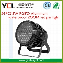 54PCS 3W RGBW Aluminum waterproof ZOOM led par light