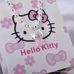 儷妃珠寶新品雙十二S990足銀純銀手鐲女Kitty貓咪手鏈