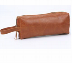 Brown pvc men's toiletry Kit