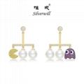 Si  erwill 925 Sterling Si  er lovely pearl pac man ghost dangle earrings