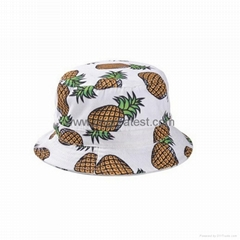 100% White Cotton Pineapple Printed Children Kids Bucket Hat
