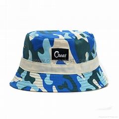 Custom Blue Camo Cotton Woven Label Bucket Hat