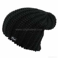2015 Wholesale Custom Black Cotton Skull Beanie Caps