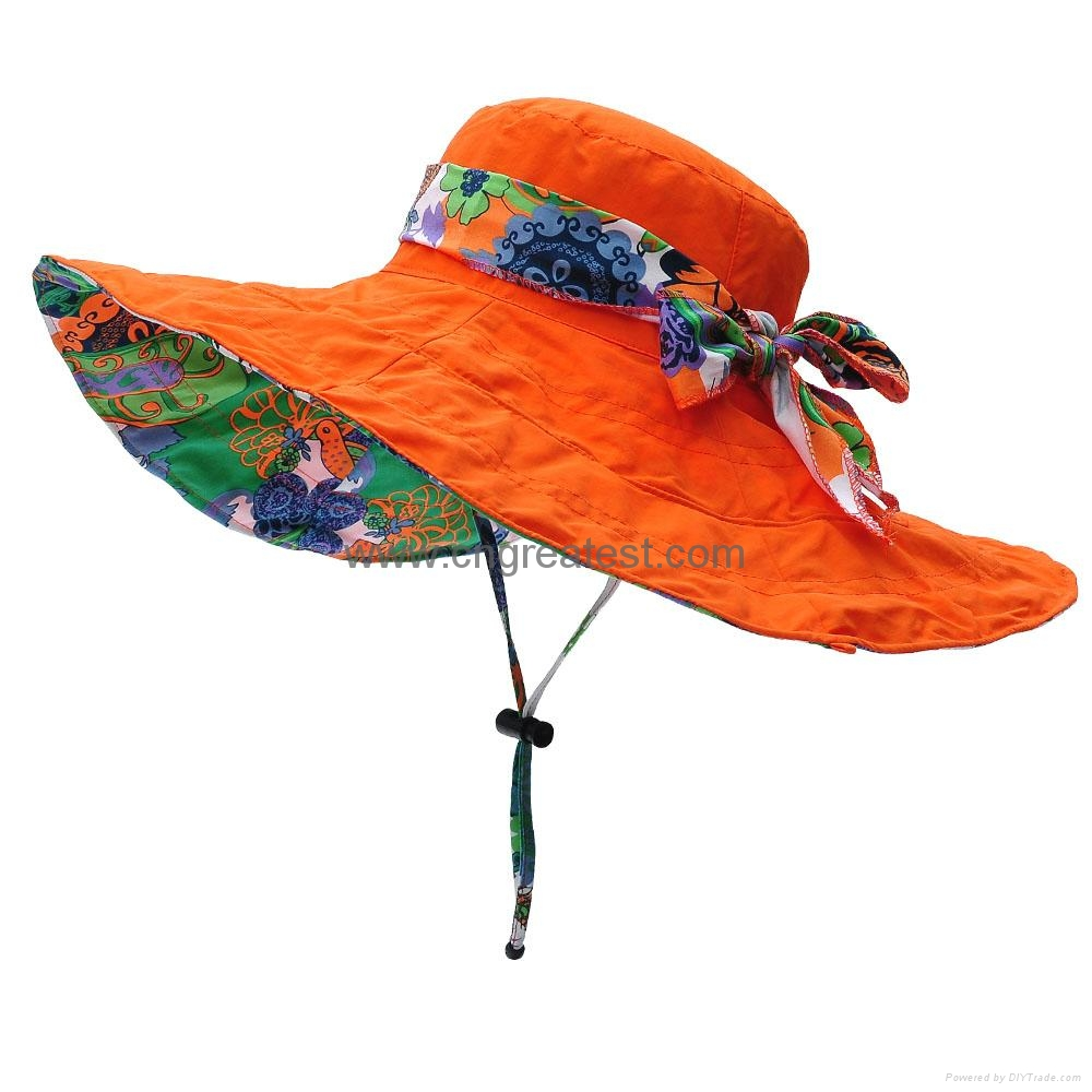 ae6ef3c0bc246 Nylon Floral Pattern Wide Brimmed Sun Hats Young Girls Hat - outdoor ...