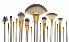 High quality 24 pcs pu leather Beige makeup brush set